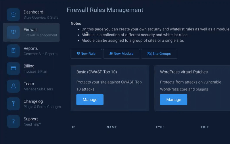webarx firewall rules settings